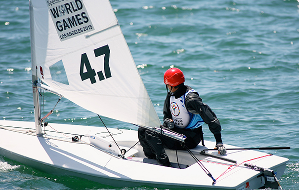 Olympic Sailing - Long Beach provided the venue as Olympic sailor Terrel Limerick navigates his Laser around the course. Limerick has earned over 100 medals in both the summer and winter Olympic games. He earned the Bronze Medal in his sailing class last Saturday.