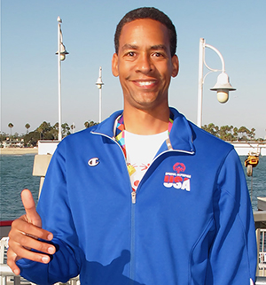 Special Olympic athlete Terrel Limerick at the docks in Long Beach as he gets ready to compete in Level 5 Sailing.