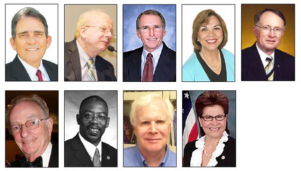 Top row(l-r): SB Mayor Carey Davis, Dennis Baxter, Fred Shorett, Gloria Macias Harrison, Jim Mulvihill, Rabbi Hillel Cohn, Rikke Van Johnson, Tom Pierce, Virginia Marquez