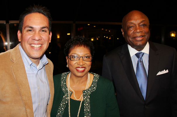 Congressman Elect Pete Aguilar Asseblymember Cheryl Brown, and Mayor Willie Brown.