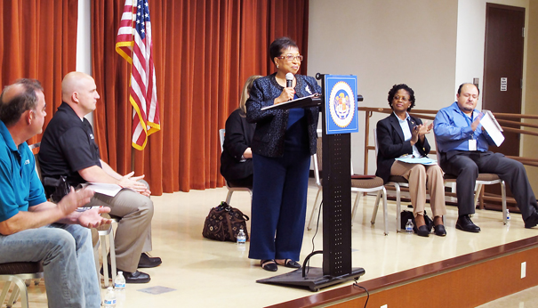 Assembly Member Brown at the Senior Scam Stopper Seminar held at the Fontana Senior Center. Photo by Jon Gaede