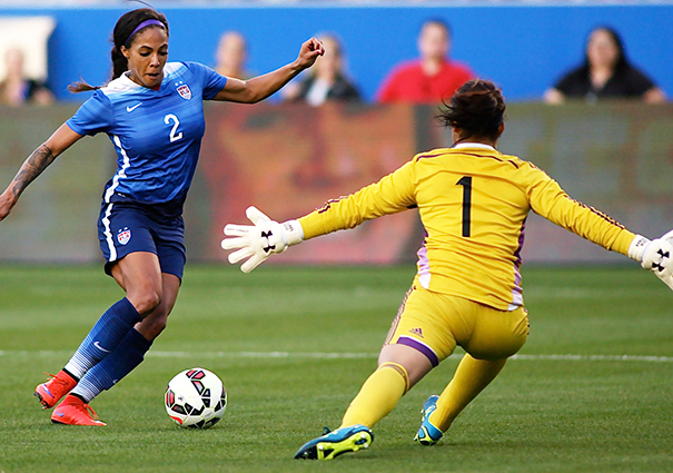USA forward Sydney Leroux maneuvers on Mexican keeper to score in the 28th minute. Photo by Jon D. Gaede