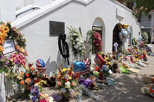 Flower memorial outside Emmanuel AME church.