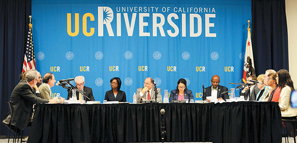 Committee Chair Assembly Member Jose Medina and his colleagues listened to presentations about UCR's initiatives to serve low-income, first-generation undergraduate students. Photo by Carrie Rosema