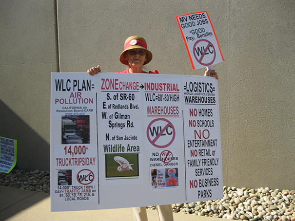 Betty Masters protesting against the World Logistics Center.