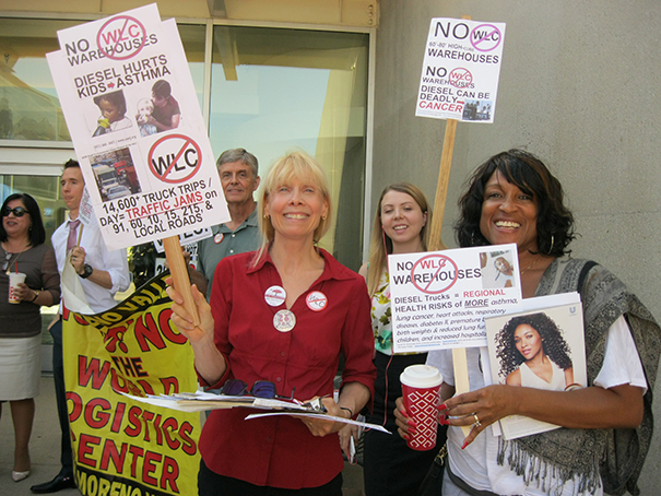 Protesters against warehouses (Susan Billinger in red)
