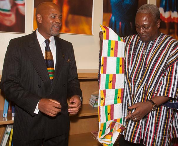 Ghanaian President John Dramani Mahama with Ken Simons