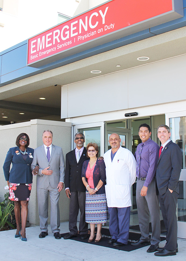 Left to Right: June Collison, President of Dignity Health - Community Hospital of San Bernardino, Senator Mike Morrell, San Bernardino City Council Member Rikke Van Johnson, San Bernardino City Council Member Virginia Marquez, Emergency Department Medical Director at Community Hospital Dr. Cameron Nouri, Enrique Armenta representing Congressman Pete Aguilar, and Assemblyman Marc Steinorth.