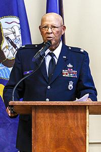 Speaker, Bill Howe (Ret. Lieutenant US Air Force). Photo by Harold Corsey