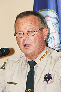 Speaker, Riverside County Sheriff Stanley Sniff, (US Army). Photo by John Coleman