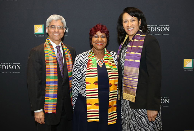 Linda Wright (middle), president/CEO/founder of the Moreno Valley Black Chamber of Commerce, shares a moment with Southern California Edison (SCE) President Pedro Pizarro (left) and Lisa Cagnolatti (right), vice president, Business Customer Division during SCE's annual Black History Month celebration.