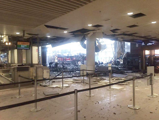 Brussels Airport after bombing. Photo from We Are Annonymous Facebook page