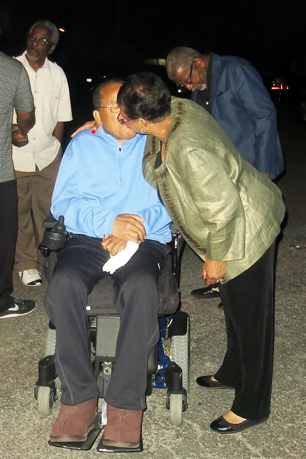 Hardy and Cheryl Brown share a kiss on election day.