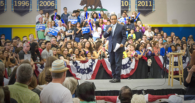 Mark Maccaro, is the Tribal Chairman of the Pechanga Band of Luiseño Indians in Southern California, speaking at Hillary Clinton rally at UC Riverside