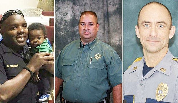 Baton Rouge officers killed;Montrell Jackson, left, Brad Garafola, middle, and Matthew Gerald.