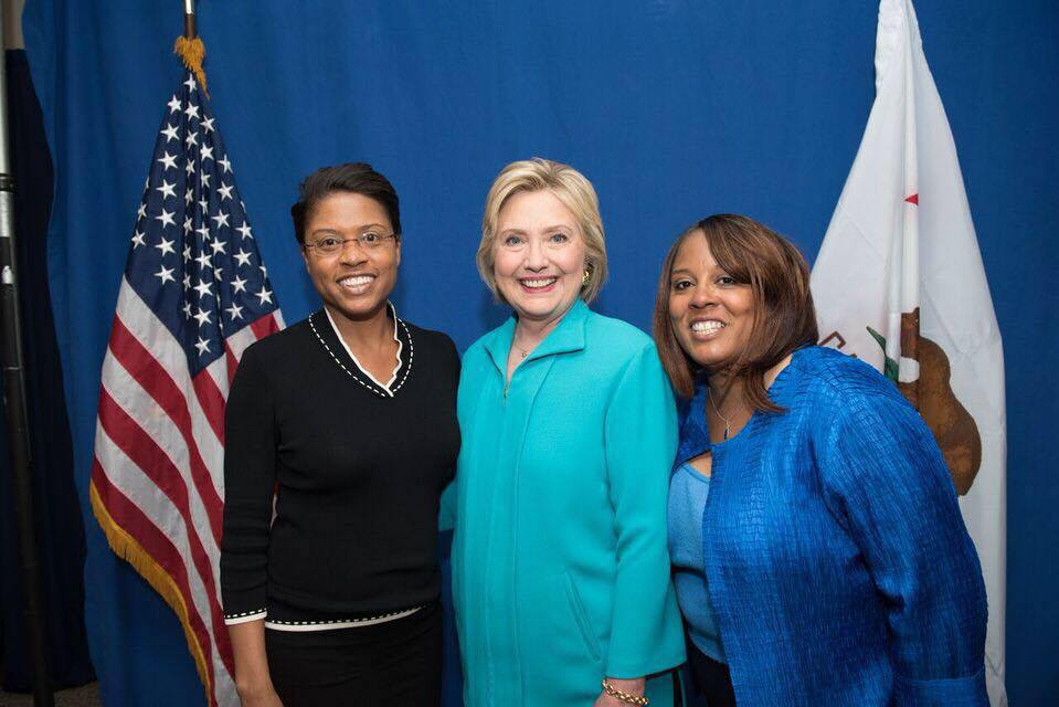 With my sister Lynn Brown Summers and Democratic Presidential Nominee Hillary Clinton earlier this year at UC Riverside.