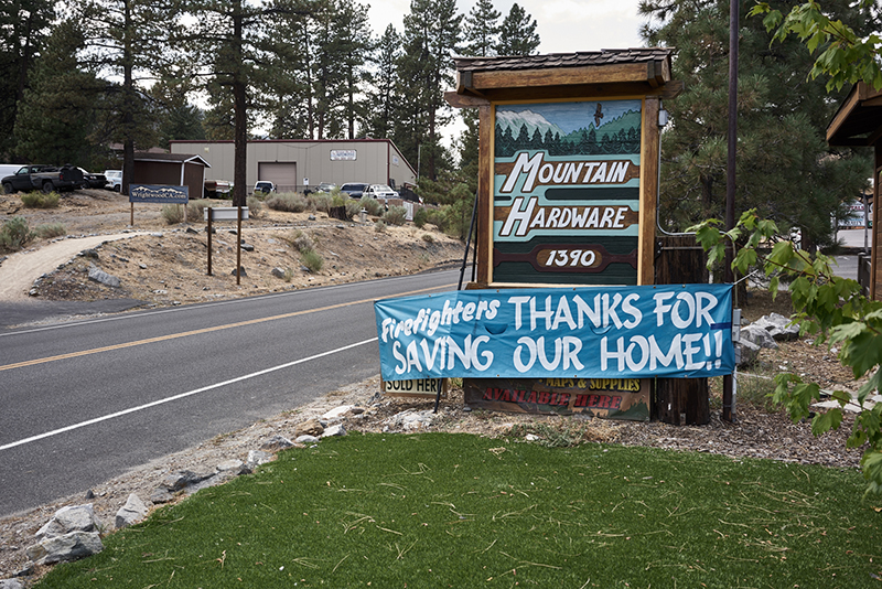 Grateful residents leave a kind message for firemen in Wrightwood. Photo © Paulette Brown-Hinds.