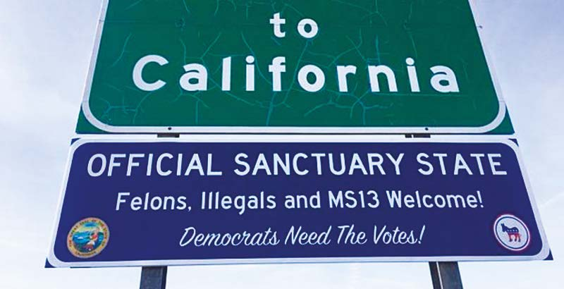 """Fake Sign Welcomes Visitors to """"Sanctuary State"""""""