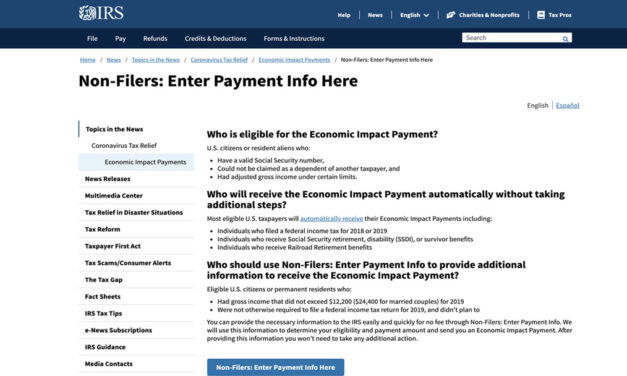 IRS Implements Easy to Use Tool for Non-Tax Filers to Expedite Delivery of Stimulus Checks